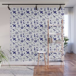 Blue Science Symbols Wall Mural
