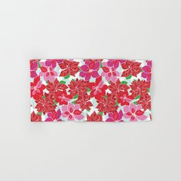 Red and Pink Poinsettias Hand & Bath Towel