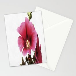 Pink Hollyhock Stationery Cards
