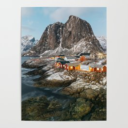 Beautiful Norwegian village of Hamnøy during winter time Poster
