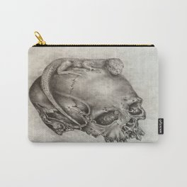 Human Skull with Lizard Carry-All Pouch