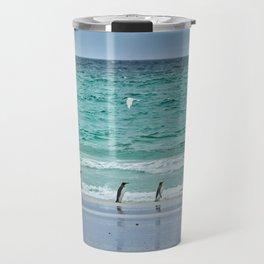Falkland Island Seascape with Penguins Travel Mug