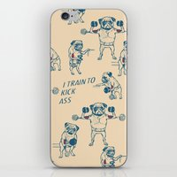 workout iPhone & iPod Skins featuring Pug Workout by Huebucket