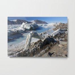 Antarctica - Ferrar Glacier coliding Sea Ice Metal Print