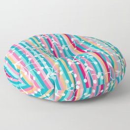colorful bright stripes floral art pattern Floor Pillow