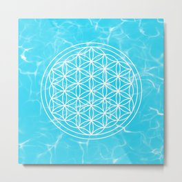 Mermaid Flower of Life + Donation for Marine Conservation Metal Print