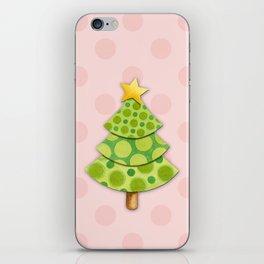Pink Polka Dots Christmas iPhone Skin