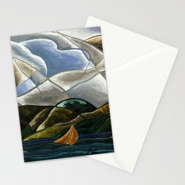 Clouds and Water with Sailboats nautical landscape painting by Arthur Dove Stationery Cards