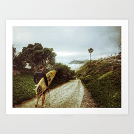 Surfer Boy, Cardiff, California Art Print