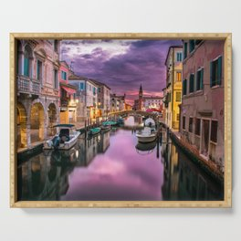 Venice Italy Canal at Sunset Photograph Serving Tray