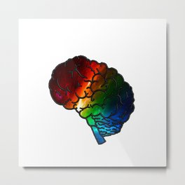 Neurodiversity Rainbow Brain Metal Print