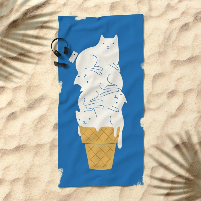 Cats Ice Cream Beach Towel