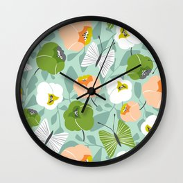 Butterfly Blossom Floral - Sage Green Wall Clock