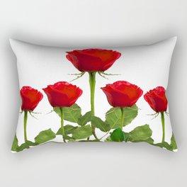 ORIGINAL GARDEN DESIGN OF RED ROSES ON WHITE Rectangular Pillow