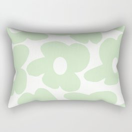 Large Baby Green Retro Flowers White Background #decor #society6 #buyart Rectangular Pillow