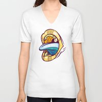 mouth V-neck T-shirts featuring Mouth by Artistic Dyslexia