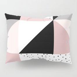 Geometrical pink black gray watercolor polka dots color block Pillow Sham