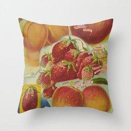Seed Catalog Garden Floral Fruit Plum Apple Strawberry Crab Apple Throw Pillow