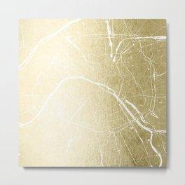 Paris France Minimal Street Map - Gold Foil Glitter Metal Print