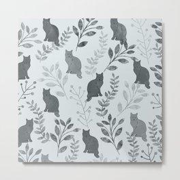 Watercolor Floral and Cat VI Metal Print