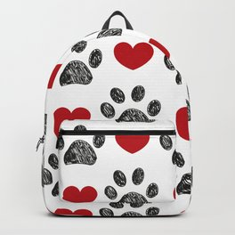 Doodle black paw print with red shining hearts seamless pattern Backpack