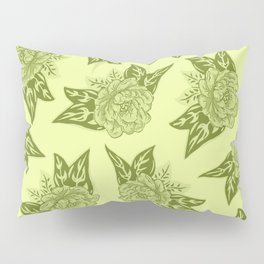Cabbage Roses in Chartreuse Pillow Sham
