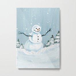 Happy Little Snowman Metal Print
