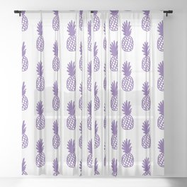 Purple Pineapple Sheer Curtain