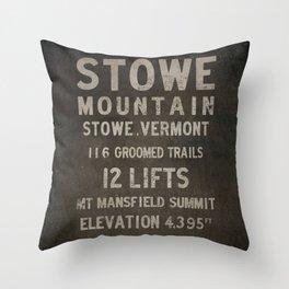 Stowe Ski Vermont Mountain Sign Throw Pillow