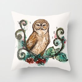 """""""The Wise Owl"""" Magical Woodland Animals series 4 Throw Pillow"""
