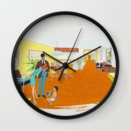 1950's Motel Room Artwork from Wildwood, NJ. Retro Motel Illustration Wall Clock