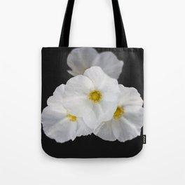 White blossom flower in dark Tote Bag