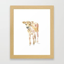 Jersey Calf Watercolor Cow Framed Art Print