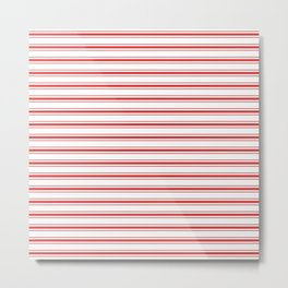 Mattress Ticking Wide Striped Pattern in Red and White Metal Print