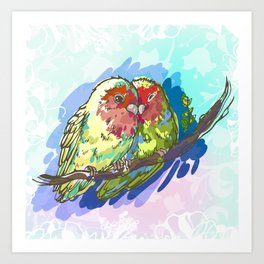 Expressive Parrots Lovebirds Art Print