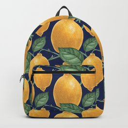 Lemon branch. Oldschool Botanical Watercolor Backpack