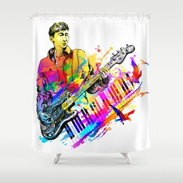 Guitar player. Musician guitarist playing jazz rock music Shower Curtain