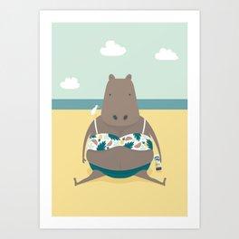 Sunbathing Hippo Art Print