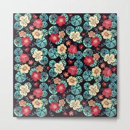 Watercolor Nasturtiums. Dark Floral Metal Print