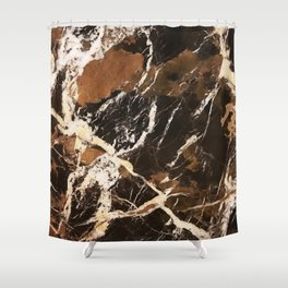 Sienna Brown and Black Marble With Creamy Veins Shower Curtain