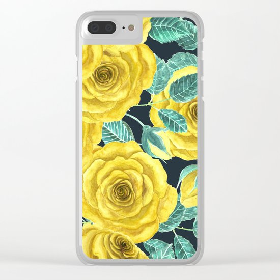 Yellow watercolor roses with leaves and buds pattern Clear iPhone Case