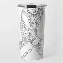 Field Hockey Player Doodle Travel Mug