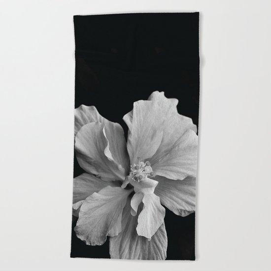 Hibiscus Drama - Black and Grey Beach Towel