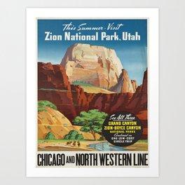 Vintage poster - Zion National Park Art Print
