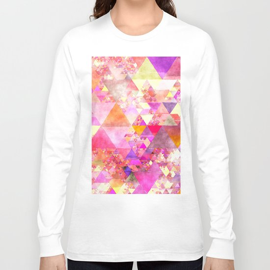 Abstract pink purple yellow -Colorful triangle pattern #Society6 Long Sleeve T-shirt