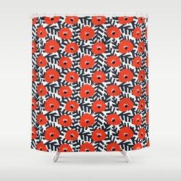 Summer Poppy Floral Print Shower Curtain