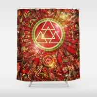 code Shower Curtains featuring Omega Code by Guilherme Marconi
