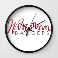 wisconsin Wall Clocks featuring Wisconsin Badgers  by Niki Addie Creative Design Co.
