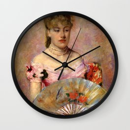 Cassatt Mary Lady with a Fan aka Portrait of Anne Charlotte Gaillard Wall Clock