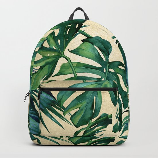 Tropical Island Republic Green on Linen Backpack